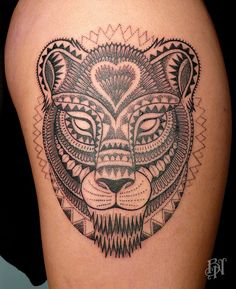 Lioness tattoo. A lioness takes care of her own without help from anyone.