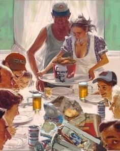 KFC Norman Rockwell Thanksgiving Art - that looks just about right. :) #parody #artparody