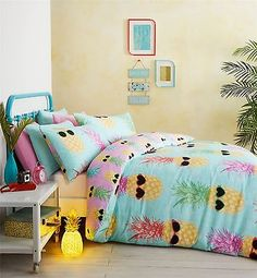 Funky Pineapple Bright Tropical Beach Theme Summer Bedding Duvet Cover