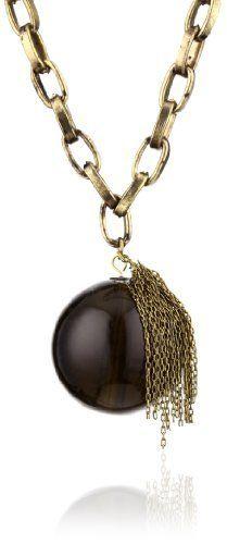 "tre ""Ariane"" Tassel Smoke Glass Beaded Pendant Necklace tre. $60.85. Gold chain. Made in China. Round smoke glass bead pendant with gold metal tassel on gold chain. Polished glass bead pendant. Save 51%!"