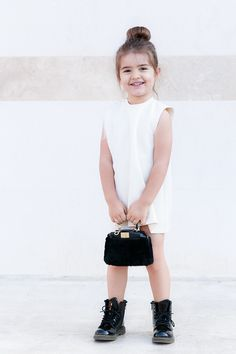 Black Tie Dressing | EdgyCuts | Miss Kaira wearing custom made Zara frayed edge dress, Fendi shearling Micro Peakaboo bag, Dr.Martens patent boots | Kids Fashion