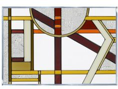 """Deco Craftsman Colors 20.5"""" x 14"""" Horizontal Stained Glass Panel by Silver Creek Industries, Inc.. $64.41. Proudly made in the USA!. Chain kit included.. 20.5"""" wide x 14"""" high. Hand-painted stained art glass.. Craftsman browns and cream Art Deco inspired horizontal design.This V-size horizontal panel is zinc-framed and measures 20.5"""" wide x 14"""" high. It features two soldered metal rings along the top for hanging. For easy and secure hanging, we include our Chain Kit."""
