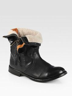 Burberry - Kerry Shearling-Lined Leather Fold-Over Boots - Saks.com