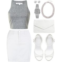 like white on rice. by goldiloxx on Polyvore featuring moda, Zara, Rut&Circle, Casio, Astley Clarke, white, denim, clutches, croptops and chain