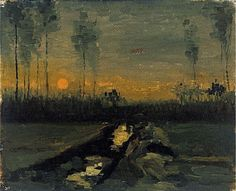 Evening Landscape with Rising Moon, 1889 by Vincent Van Gogh