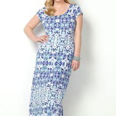 Blue Abstract Maxi Dress-Plus Size Maxi Dress-Avenue  + shrug