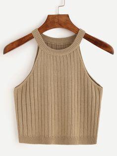 Top tejido - marrón claro-Spanish SheIn(Sheinside) Sitio Móvil