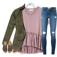 A fashion look from January 2017 by southernstruttin featuring Frame, Birkenstock, Kendra Scott, Ray-Ban and Nili Lotan Cute Outfits For School, Cute Casual Outfits, Simple Outfits, Outfits For Teens, Girly Outfits, Pretty Outfits, Fall Winter Outfits, Spring Outfits, Jean Outfits