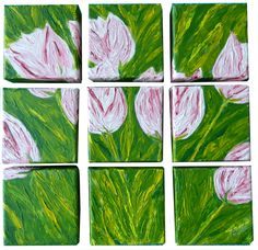 """""""Tulips Squared"""" Original Acrylic Painting. Nine 4"""" square gallery wrapped canvases painted forming a dimensional puzzle that cast interesting shadows"""
