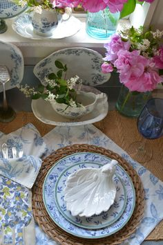 In the Potting Shed: Tabletop Nesting with Blooms and Dishes | homeiswheretheboatis.net #garden #peonies #tablescape