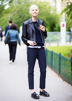 Team up your favorite leather jacket with a pair of pinstripe trousers and tassled loafers. // #OutfitIdeas