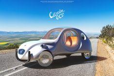 Citroen eCV concept car design on Behance Citroen Concept, Concept Cars, Manx, Electric Tricycle, Safari, 2cv6, Black Cab, Retro Cars, Peugeot