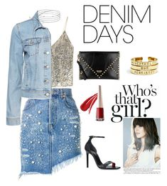"""""""Demim Fridays"""" by hezela on Polyvore featuring Alice + Olivia, Yves Saint Laurent, Moschino and denimskirts"""