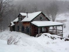Love this inviting little cabin in the snow. I can just imagine a cozy fire burning in a black pot-bellied stove with the dog laying nearby . Snow Cabin, Winter Cabin, Cozy Cabin, Cozy Winter, Winter Snow, Spring Snow, Winter White, Cabin Homes, Log Homes