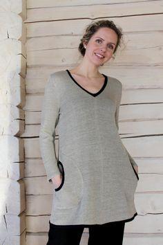 Handmade Long-sleeve Knit Linen Tunic www.eglinen.etsy.com