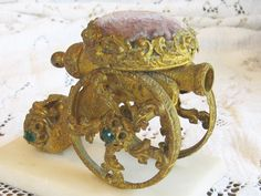 ANTIQUE FIGURAL FRENCH PIN CUSHION COUSSIN JEWELED CANNON MARBLE ALABASTER BASE