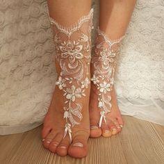 Copper frame bridal anklet, ivory frame Beach wedding barefoot sandals, bangle, wedding anklet, free ship, anklet, bridal, wedding