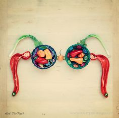Hot Ta-Tas! (hot peppers & Mexican bowls ~ fine art prints. chili, habanero, jalapeño peppers. A portion of every purchase is donated to #breastcancer patient support.  - art bra)