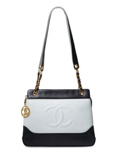 Navy & White Leather CC Tote Small by Chanel at Gilt