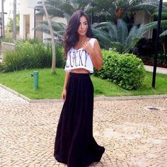 Crop tops and long skirt easy summer style