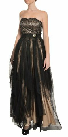 A.b.s. Women's Romantic Strapless Tie Lace Beaded Long Evening Gown 6 Black, Nude