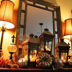 Fall decor for the entry way--good use for all my lanterns!