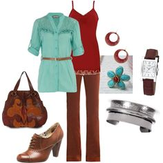 Aqua-Red-Brown