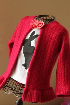 Girl. Inspired. {sewing, crafts, party inspiration}: Woman's Sweater to Girl's Cardigan