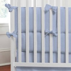 Blue Gingham Baby Bedding | Blue Gingham Crib Bedding | Carousel Designs