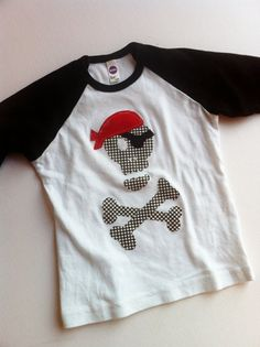 Pirate Shirt - Skull and Crossbones Applique- You Choose Shirt Color and Sleeve Length on Etsy, $24.00
