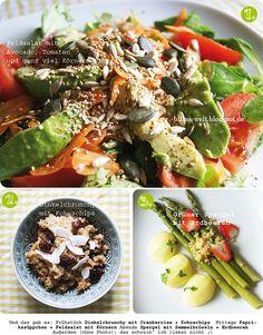 Bunt wie immer und schön durchnummeriert kommt Billas veganer Mittwoch daher. Kurze Zusammenfassung: Feldsalat mit Avocado, Dinkelcrunchy mit Kokoschips und grüner Spargel mit Erdbeeren.