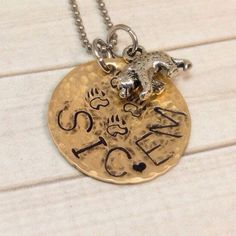 """Necklace, Bronze, Baylor Bears, Hand Stamped, """"Sic Em"""", Bear Claw, Be…"""