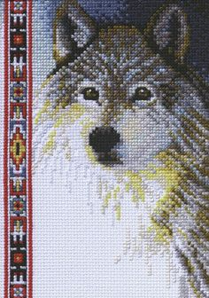 "Wildlife Wolf Mini Counted Cross Stitch Kit-5""""X7"""" 14 Count"