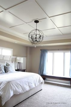 Ceiling With Beams Tray Ceiling.Tray Ceiling Ideas For Home Interiors Happho. Coffered Vaulted Tray And Moulded Ceilings Ceiling . Home and Family Ceiling Trim, Ceiling Design, Ceiling Fan, Molding Ceiling, Ceiling Detail, Ceiling Pendant, Orb Light, Light Fixture, Bedroom Ceiling