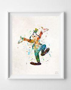 Goofy Print Goofy Watercolor Art Disney Poster by InkistPrints