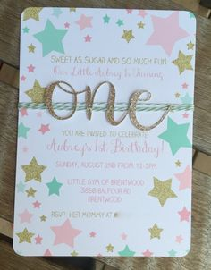 Twinkle little star first birthday invitation, Birthday invite, Mint Pink & Gold party, Baby girl is one invitation, Gold glitter one One Year Birthday, 1st Birthday Themes, Baby Girl 1st Birthday, First Birthday Invitations, Birthday Diy, First Birthday Parties, Birthday Ideas, Gold Glitter, Twinkle Twinkle Little Star