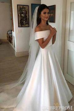 A Line Satin Off the Shoulder Ivory Wedding Dresses Short Sleeves Wedding Gowns - Hochzeitskleid Classic Wedding Dress, Luxury Wedding Dress, Backless Wedding, Wedding Dress Trends, Cheap Wedding Dress, Dream Wedding Dresses, Bridal Dresses, Lace Wedding, Simple Elegant Wedding Dress
