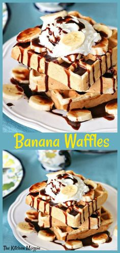 Banana Waffles with a decadent Nutella sauce. Oh, what a lovely weekend breakfast these delicious waffles are! Nutella Waffles, Banana Waffles, Brunch Recipes, Breakfast Recipes, Breakfast Time, Sweets Recipes, Healthy Recipes, Homemade Waffles, Most Delicious Recipe