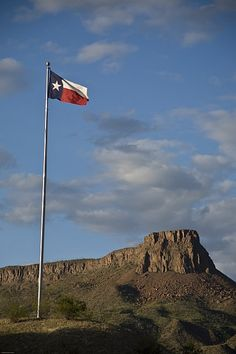Flag in rugged  West Texas