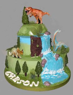 Dinosaur Birthday Cake - This was a short notice request, and they didn't want fondant! Oh, no! After Googling my brains out and combining a few designs, I had a cake!