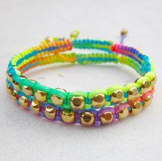 RAINBOW friendship bracelets SET neon beaded bracelets macrame bracelets gold beads stack jewelry summer. $36.00, via Etsy.