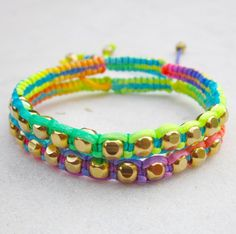 RAINBOW friendship bracelets SET neon beaded bracelets macrame bracelets gold beads stack jewelry summer. $36.00, via Etsy.