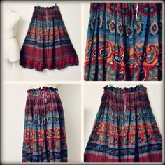 1970s Vtg Sheer Cotton Indigo Full Gypsy Hippie Skirt , SOLD