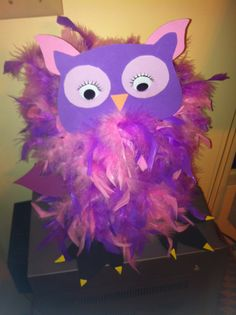 Brianna's Owl Valentine Box made with oatmeal box, feather boa, and foam sticky paper