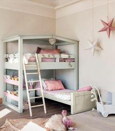 lit enfant sureleve, lit en bois cair, chambre d'enfant