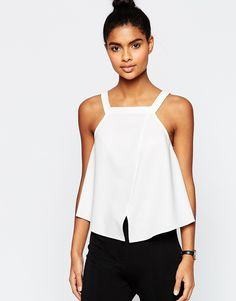 Image 1 of ASOS Thick Strap High Neck Cami Top With Wrap Front in Crepe