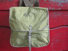 Vintage Canvas Knapsack - Backpack by American Craftsmen by cherylanngoods on Etsy