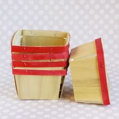 Wooden Berry Baskets: Red
