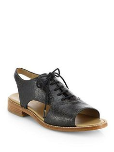 saks marc jacobs leather open-toe oxfords.