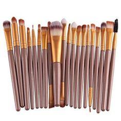 Voberry® Professionnel 20 pcs/set Pinceaux – Brosse de Maquillage / Brush Cosmétique Beauté & Make-up Manche en Bois Or (A)